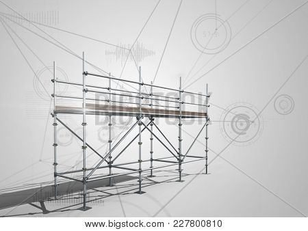 Digital composite of Connections technology background with 3D Scaffolding