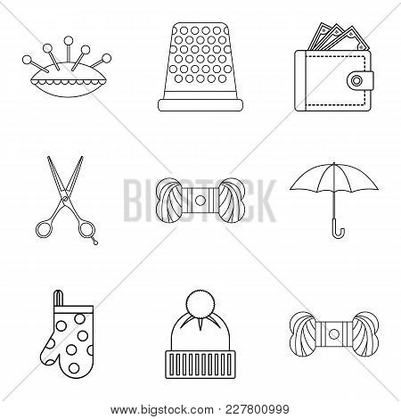 Tailoring Icons Set. Outline Set Of 9 Tailoring Vector Icons For Web Isolated On White Background