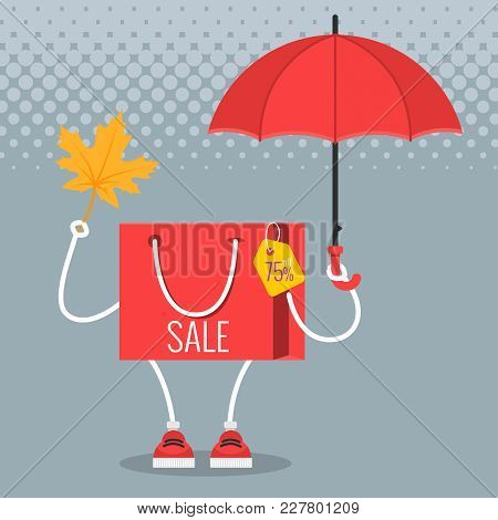 Sale At Low Prices, Cartoon Shopping Bag With A Smile. In His Hands Is A Fallen Autumn Leaf And An U