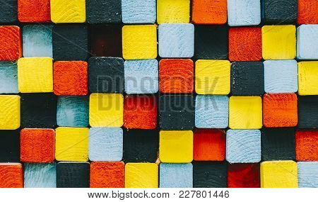 Square Color Background, Blue, Black, Red And Yellow Colors