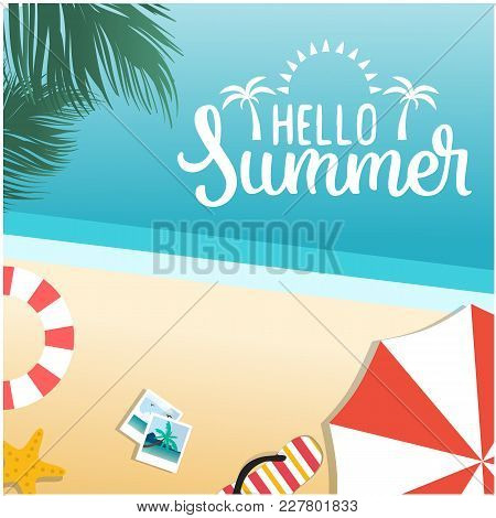 Hello Summer Beach Blue Sky Background  Vector Image