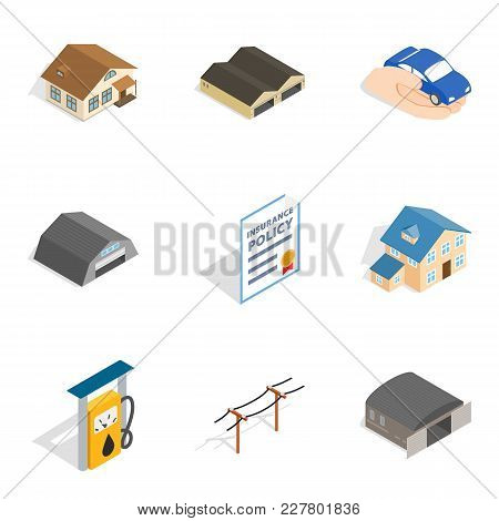 Shed Icons Set. Isometric Set Of 9 Shed Vector Icons For Web Isolated On White Background