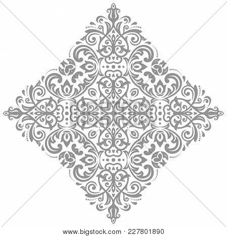 Oriental Vector Pattern With Silver Arabesques And Floral Elements. Traditional Classic Ornament. Vi