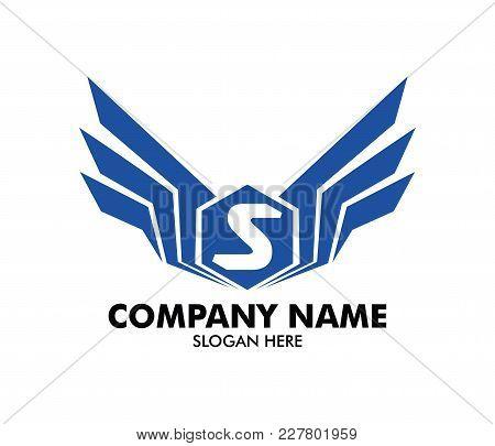 Letter S Emblem Badge Wing Vector Logo Design