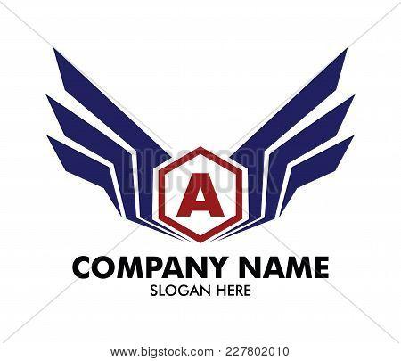 Letter A Emblem Badge Wing Vector Logo Design