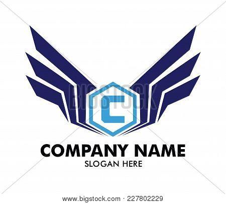 Letter C Emblem Badge Wing Vector Logo Design