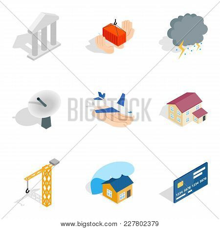 Create Icons Set. Isometric Set Of 9 Create Vector Icons For Web Isolated On White Background