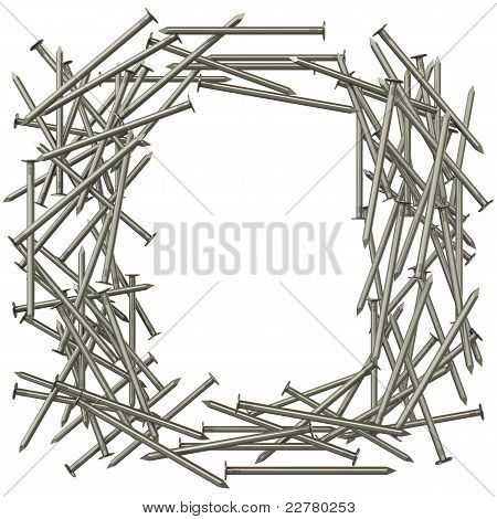 Frame made of steel nails