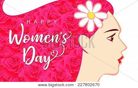 Happy Womens Day March 8, Beautiful Woman With Pink Hair Greeting Card. Vector Illustration For The