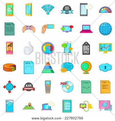 Speaker System Icons Set. Cartoon Set Of 36 Speaker System Vector Icons For Web Isolated On White Ba