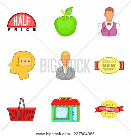 Shopping Opportunity Icons Set. Cartoon Set Of 9 Shopping Opportunity Vector Icons For Web Isolated