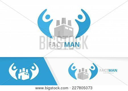 Vector Factory And People Logo Combination. Industry And Family Symbol Or Icon. Unique Manufacturing