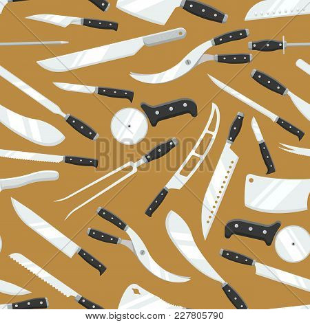 Kitchen Knives Vector Butcher Meat Knife Set Chef Cutting With Kitchen Drawknife Or Cleaver And Shar