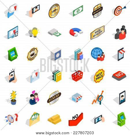 Business Cooperation Icons Set. Isometric Set Of 36 Business Cooperation Vector Icons For Web Isolat