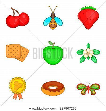 Honey Yield Icons Set. Cartoon Set Of 9 Honey Yield Vector Icons For Web Isolated On White Backgroun