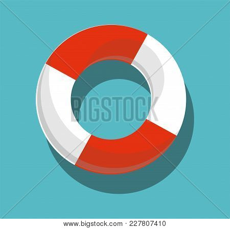 Lifebuoy Isolated On Blue Background Vector Illustration