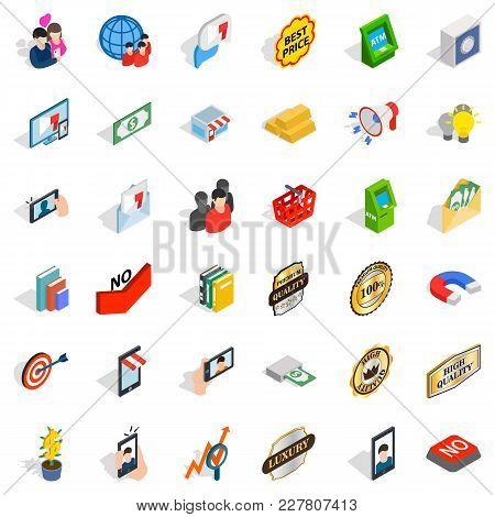 Business Interaction Icons Set. Isometric Set Of 36 Business Interaction Vector Icons For Web Isolat