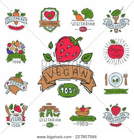 Hand Drawn Style Of Bio Organic Eco Healthy Food Label Vegetable Logo Templates And Vintage Vegan El