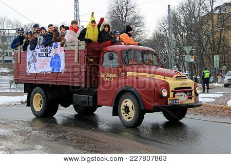Helsinki, Finland - February 15, 2018: Finnish 3rd Year Upper Secondary School Students Celebrate Th