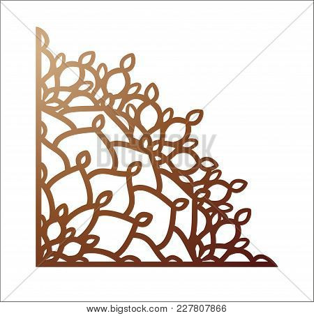 Laser Cutting Corner. Vector Template For Paper Cutting, Metal And Woodcut. Tapestry Panel. Jigsaw D