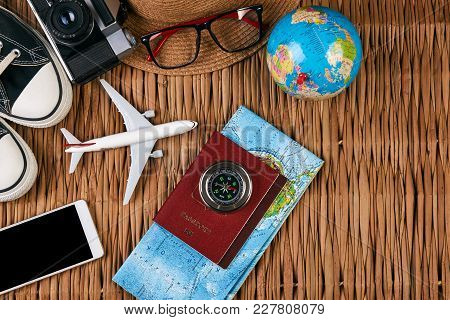 Passport Travel Document Photo Camera Sunglasses Globe Map, Top View. Summer Vacation, Travel, Touri