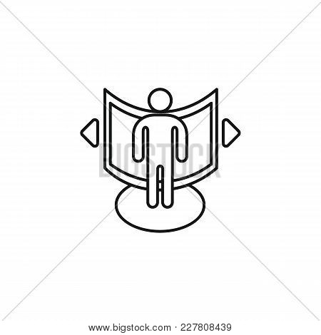 Virtual Reality Outline Icon. Man In Virtual Reality Vector Illustration On White Background. Elemen