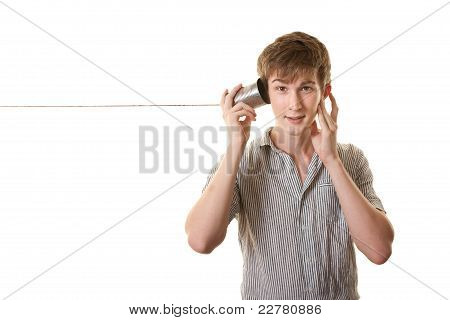 Teen With Tin Can Telephone