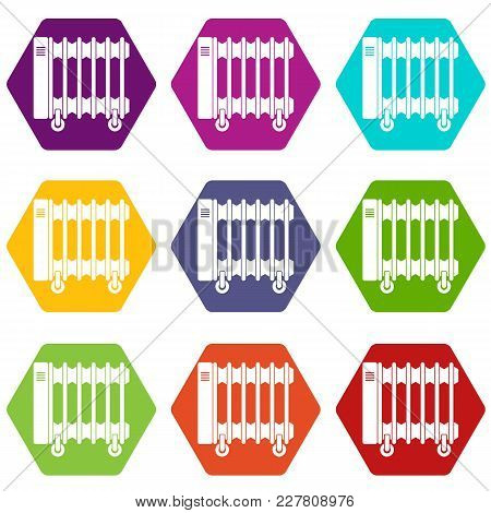 Oil Electric Heater On Wheels Icon Set Many Color Hexahedron Isolated On White Vector Illustration