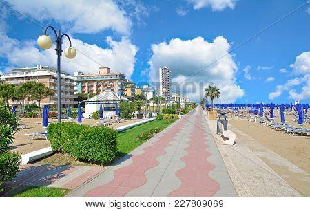 Beach And Promenade Of Lido Di Jesolo At Adriatic Sea,veneto,italy