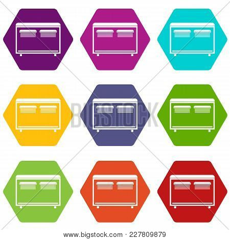Home Equipment For Heating Icon Set Many Color Hexahedron Isolated On White Vector Illustration