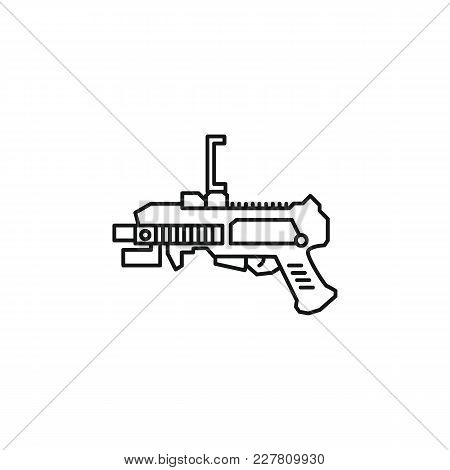 Virtual Reality Gun Outline Icon. Vr Weapon Vector Illustration On White Background. Element For Vir