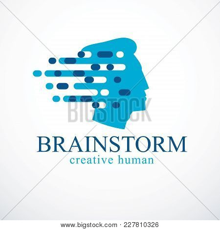 Brainstorm Concept, Vector Design Of Human Head Profile With Thoughts Moving Fast. Vector Logo Or Ic