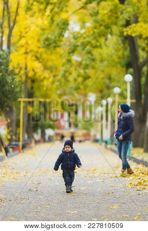 Young Woman Walking In Green Yellow Fall Park With Little Cute Child Baby Boy On Nature. Mother, Lit