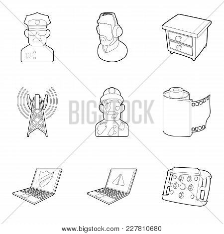 Smart Tv Icons Set. Outline Set Of 9 Smart Tv Vector Icons For Web Isolated On White Background