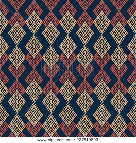 Seamless Background Southeast Asian Retro Aboriginal Traditional Art Textile Pattern Check Polygon S