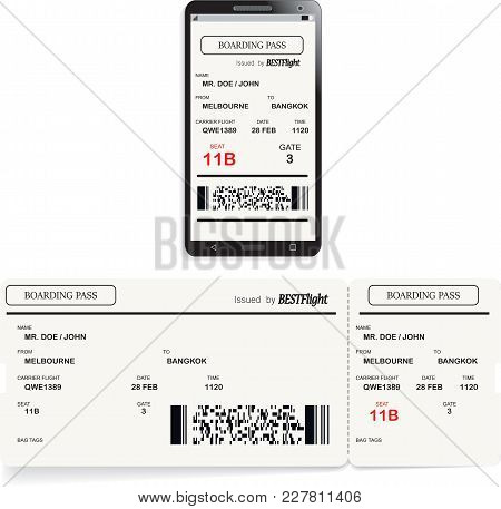 Mobile Phone With Electronic Boarding Pass Airline Ticket And Paper Boarding Pass Ticket. Concept Of