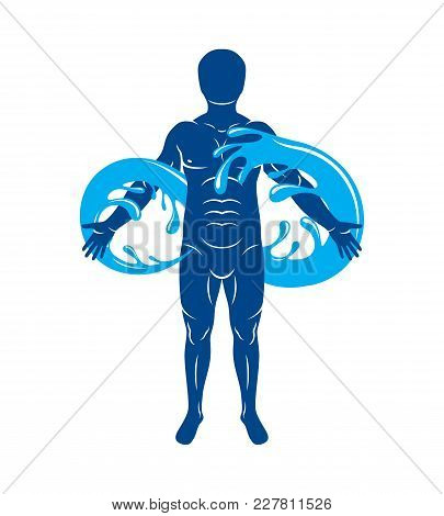Vector Graphic Illustration Of Muscular Human, Mystic Poseidon Composed With Limitless Symbol Create