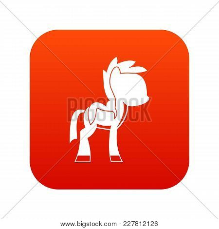 Little Pony Icon Digital Red For Any Design Isolated On White Vector Illustration