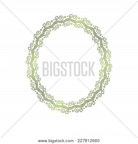 Vintage Round Frame Created With Ecology Style Natural Ornament, Green Spring Leaves. Heraldic Coat