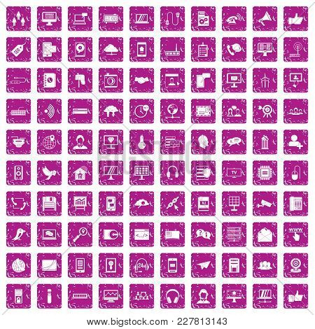 100 Communication Icons Set In Grunge Style Pink Color Isolated On White Background Vector Illustrat