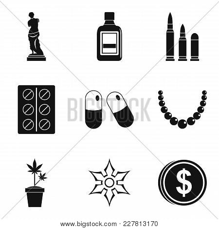 Smuggling Goods Icons Set. Simple Set Of 9 Smuggling Goods Vector Icons For Web Isolated On White Ba