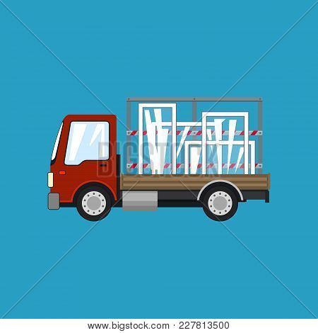 Red Small Truck With Windows Isolated On A Blue Background, Transportation And Cargo Delivery Servic