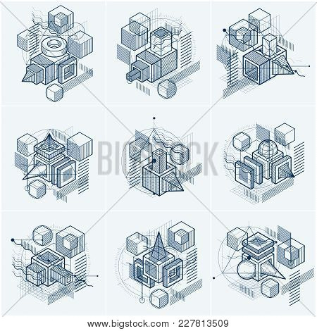 Abstract 3d Shapes Compositions, Vector Isometric Backgrounds. Compositions Of Cubes, Hexagons, Squa