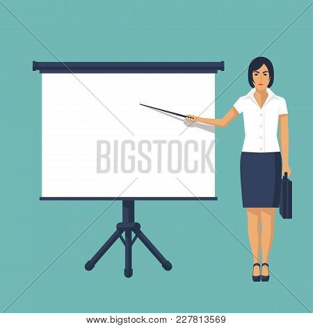 Businesswoman Standing Near Whiteboard Making Presentation. Template For Different Kinds Business Pr