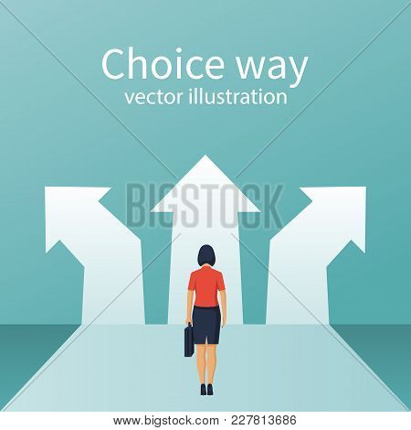 Businesswoman Stands Before Choosing. Way Forward Concept. Choice Way. Vector Flat Style Design. Ach