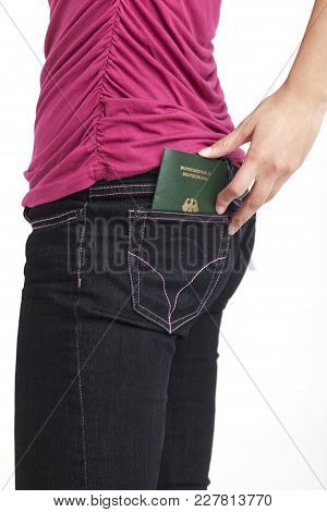 Slim Woman And A Passport Isolated On White