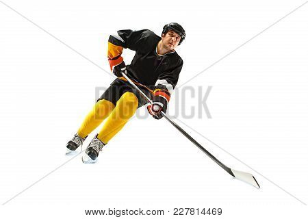 Decisive Throw Of The Puck And Goal. Ice Hockey Player In Action Isolated On White. Male Professiona