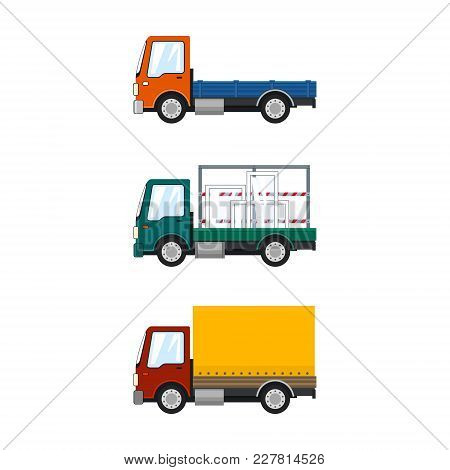 Set Of Small Cargo Trucks Isolated, Orange Mini Lorry Without Load, Car With Windows, Closed Truck,