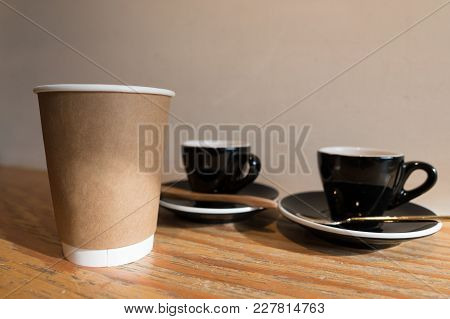 Morning Sunlight Lighting, Blank Take Away Coffee Paper Cup With  Espresso In Ceramic Cup Background