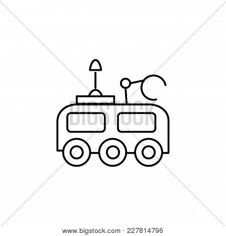 Mars Rover Icon In Line Style. Space Illustration With Marsrover In White Background. Element For Sp